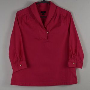 Size 6P Pink Shawl Collar 3/4 Sleeve Blouse